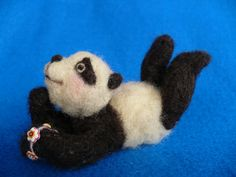 Needle felted Collectible Panda Bear OOAK  by grannancan,