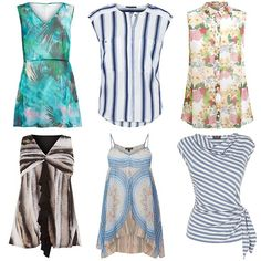 Like the middle top (blue horizontal strip) and the right bottom vertical stripe shirt. All other tops are too long.