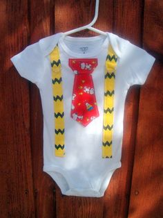 Charlie Brown Snoopy Boys Tie Onesie Bodysuit or Shirt with Suspenders and Crocheted Hat - NB to 12 Years - Birthday, Photo Prop. $34.00, via Etsy.