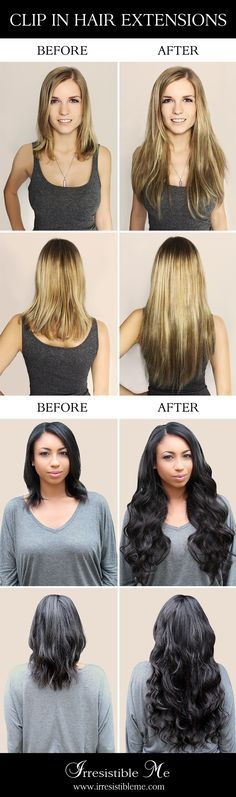 Get long hair in less than 5 minutes with Irresistible Me 100% human Remy clip-in hair extensions.The before and after change is totally awesome and nobody will know you're wearing hair extensions. Can be cut, dyed and heat styled. Worldwide delivery, free exchanges and returns. Sign up and get 20% off your first order and other exclusive discounts!