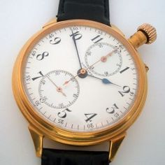 Rare Swiss Antique Wristwatch Chronograph Longines An Enamel Dial Gilt Case photo