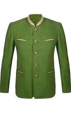 Modische Herren-Trachtenjacke von Meindl in Grün. Das Modell Wien ist aus hochwertigem Canvas gefertigt, zudem verfügt die Jacke über einen edlen Ellbogenbesatz aus echtem Ziegenveloursleder, Hirschhornknöpfe, paspelierte Fronttaschen, Kellerfalte und Dragoner hinten.