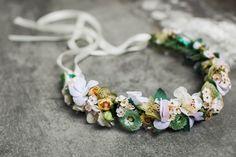 Flowercrown Dominique — We Are Flowergirls Flower Crown Bride, Bride Flowers, Wedding Flowers, Soft Pastels, White Ribbon, Handmade Flowers, Vintage Flowers, Vienna, Ribbons
