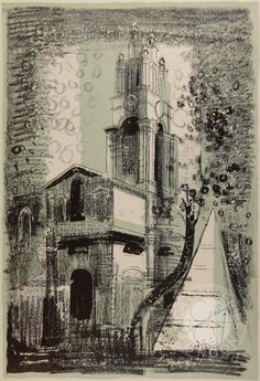 John Piper, St Anne's, Limehouse, London: by Nicholas Hawksmoor' 1964 Urban Landscape, Landscape Art, John Piper Artist, Nicholas Hawksmoor, St Anne, A Level Art, London Art, East London, Buy Art Online