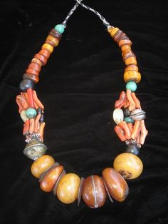 Berber Necklace |  Coral, Amber and silver.  Pre 1920s.