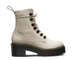 The Leona is packed with rugged features: a commando tread, an extra-empowering platform sole with a chunky heel, antiqued brass tunnel eyelets and a sleek silhouette. The result? A women's boot that strikes the perfect balance between femininity and the tough, rebellious Dr. Martens spirit. Made with Temperley, a soft, smooth, full-grain leather Built on the rebelliously comfortable Dr. Martens Airwair™ air-cushioned sole Sole is slip-resistant with superior abrasion, and is oil and fat ...