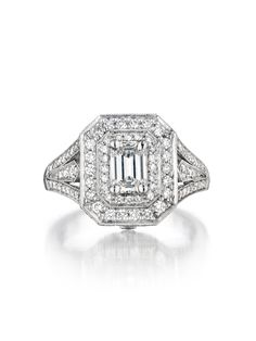 Penny Preville 18k White Gold Emerald Shape Deco Diamond Ring - Penny Preville 18k White Gold Emerald Shape Deco Diamond Ring