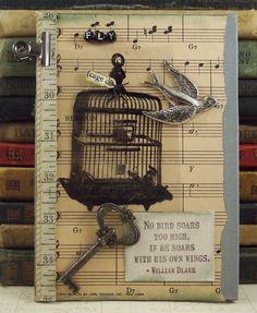 Mixed media - bird cage, key, sheet music and ruler