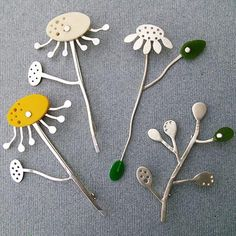 Flowerheads Sterling Silver Contemporary Jewellery by Charlotte Whitmore
