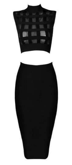 Faith Black Two Piece Bandage Dress