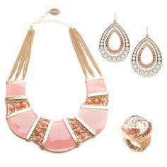 Pretty coral jewelry set