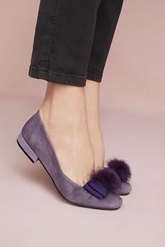 "Anthropologie ""Bisue"" Ballerinas"" lilac-suede ballet flats embellished with bows and faux-fur pom poms 