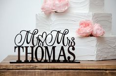 Custom wedding table sign with your last name. made of acrylic and 4 colors available. wide by to tall wedding table sign in the style shown. Table sign height will depend on your name. Choose from Black, White, Brown or Ivory acrylic. Wedding Signs, Wedding Bells, Wedding Table, Wedding Cakes, Wedding 2015, Our Wedding, Dream Wedding, Wedding Stuff, April Wedding