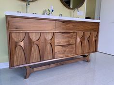 "Custom ""Brazilia"" Walnut Double Sink Vanity By West Coast Modern L.A"