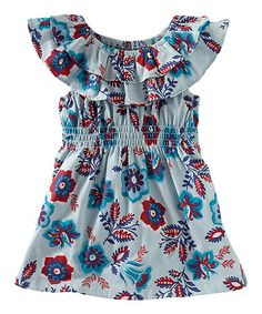 Look at this #zulilyfind! Blue Sea Flowers Ruffle Tunic - Infant & Girls #zulilyfinds