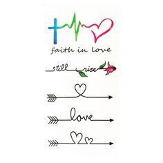 Waterproof Temporary Fake Tattoo Stickers Watercolor Love Faith Black Arrow Design Body Art Make Up Tools Fake Tattoos, Mom Tattoos, Sexy Tattoos, Body Art Tattoos, Small Tattoos, Infinity Tattoo Designs, Infinity Tattoos, Heart Tattoo Designs, Arrow Words