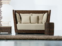 2 Seater High Back Sofa In Handwoven Black Pulut BLACK 02 By Gervasoni Design  Paola