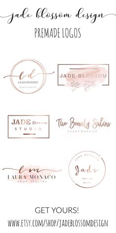 http://www.etsy.com/shop/jadeblossomdesign Premade Logo Designs for Photographers and Small Business Owners. predesigned logo, business branding, branding package, brand identity, Jade Blossom Design, design tools, digital papers, clipart, printables, printable art, Affordable premade logo designs - feminine branding, premade brand, brand identity, small business, graphic design, logo design, brand package, bakery logos, florist logos, photography logos.