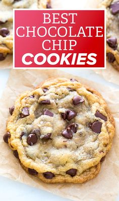 Looking for the best chocolate chip cookies EVER? These cookies are BIG, soft, chewy, and totally divine. Chocolate chip cookies are my weakness. Apricot Kolache Recipe, Yummy Snacks, Delicious Desserts, Baking Recipes, Cookie Recipes, Homemade Chocolate Chip Cookies, Cookie Brownie Bars, Chips Recipe, Dessert Bread