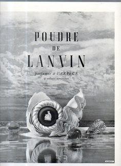 Pubblicità Advertising Werbung Poudre DE Lanvin Parfumée  à l'Arpège 1949