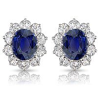 3.5 Carat Oval with CZ Ovals Cluster Earrings, 10.0 Ct TW