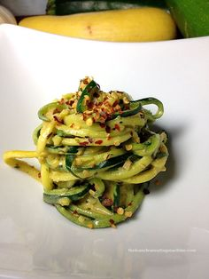 Creamy Garlic Zucchini Noodles -- Absolutely delicious. Didn't use the roasted red pepper flakes, maybe next time. Parmesan cheese with the butter and garlic made it perfect!  ###