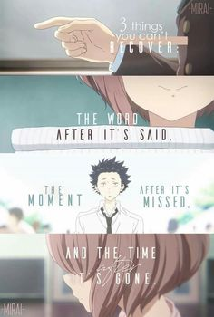 Recently watched this movie, A Silent Voice, it had stunningly beautiful art and a story that made me cry at least three times. Recently watched this movie, A Silent Voice, it had stunningly beautiful art and a story that made me cry at least three times. Sad Anime Quotes, Manga Quotes, True Quotes, Deep Quotes, Naruto Quotes, Maquia Anime, Anime Films, A Silent Voice Anime, Voice Quotes