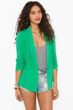 bright spring jacket with high waisted jean shorts and grey tank. <3