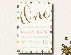 All that Glitters Mint Coral and Gold Birthday Invitation Sparkle Girls on Etsy, $16.00