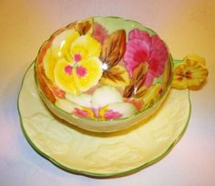 Handpainted Flower Handle Pansy Paragon Tea Cup and Saucer
