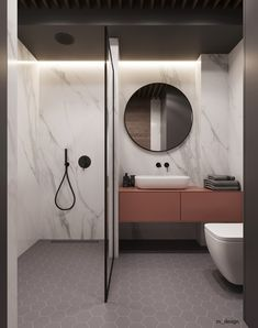 43 Trendy Home Bathroom Shower Interior Design Large Bathroom Sink, Modern Bathroom Design, Bathroom Interior Design, Closet Mirror, Bathroom Closet, Toilet Design, Trendy Home, Bars For Home, New Homes