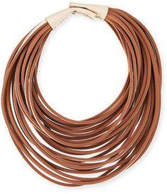 Brunello Cucinelli Multi-Strand Leather Necklace, Vanilla