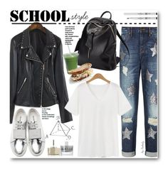 """""""School Style"""" by beebeely-look ❤ liked on Polyvore featuring Acne Studios, sass & bide, Smith & Cult, Eyeko, school, leatherjacket, rippedjeans, sammydress and back2school"""