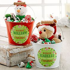 Buy Personalized Mini Metal Buckets to hold Christmas gifts and candy for kids – Free personalization! See more Christmas gift ideas at PersonalizationMall.com