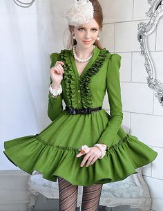 Morpheus Boutique  - Green Ruffle V Neck Holiday Long Sleeve Shoulder Pleated Layer Dress, $129.99 (http://www.morpheusboutique.com/green-ruffle-v-neck-holiday-long-sleeve-shoulder-pleated-layer-dress/)