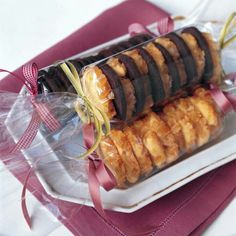 Display gift biscuit in cellphone with ribbon ends, lovely way to display!