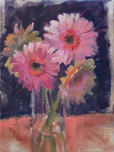 """""""Pink Gerbera Daisies"""" (oil on canvas, 12""""x16"""") by @Patrick Saunders . Come see this painting and more works by Patrick at @Shelly Snowden-Freelander Photography in downtown Lee's Summit on 4th Friday, March 28th. Patrick will do a demonstration painting on site from an arrangement designed by @Andrea / FICTILIS K. Grist Floral Designs.   Photo by Saunders Fine Arts  #saundersfinearts #patricksaunders #realistpainting #floralpainting #daisies #gerbera"""