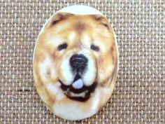 1pcs/40x30 Chow chow  Dog Porcelain Cameo by KawaiiCabochons, $5.00