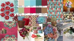Trend boards illustrate the different directions of style that exhibit a mood or an emotion for the upcoming trends. They may represent color, pattern, or a new accessory. Floral Wedding, Wedding Colors, Wedding Bouquets, Wedding Flowers, Florist Supplies, Floral Foam, Floral Style, Color Trends, Pantone