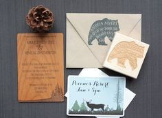 Great Outdoors Real Wood Wedding Invitation  by TriElegance on Etsy. #TriElegance