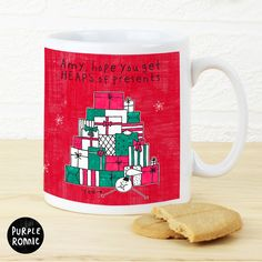This Purple Ronnie Female themed Christmas Mug can be personalised to the front with a message over 2 lines of up to 20 characters per line.  #ChristmasGifts