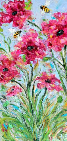 wish there was a little less pink and the green at the bottom a little more structured. Original oil painting Happy Bees and Flowers by Karensfineart Impressionist Paintings, Watercolor Paintings, Floral Paintings, Acrylic Paintings, Oil Paintings, Impressionism, Acrylic Flowers, Painted Flowers, Oil Painting For Sale