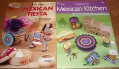Unused 2 MEXICAN Plastic Canvas Leaflets FIESTA & KITCHEN Southwest Designs