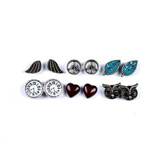 6 Pack Peace & Love Stud Earrings, Jewellery, Multis, Earrings, all, Studs Fashion trends, accessories and jewellery for young women