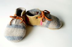 Modern Jill wool and leather baby and toddler shoes with non-slip suede sole