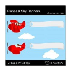 Planes and Sky Banners Set - cute digital clip art illustration set of airplane banner advertising - Commercial Use Clip Art via Etsy Airplane Banner, Sunday School Classroom, Classroom Ideas, Beach Room, Kindergarten Graduation, Vintage Airplanes, Art File, Art Images, Illustration Art