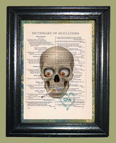 Smokin Joe Skull Art  Vintage Dictionary Page Book by CocoPuffsArt, $9.99