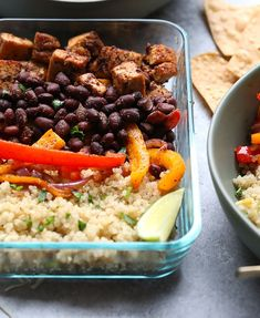 Tofu Quinoa Burrito Bowls from Fit Foodie Finds