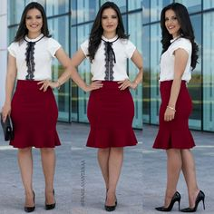 Conjunto Cristal saia Sino vinho e Blusa Branca de Rendinha - 8965 Cute Skirt Outfits, Pencil Skirt Outfits, Cute Skirts, Girly Outfits, Office Outfits, Classy Outfits, Work Fashion, Modest Fashion, Fashion Looks