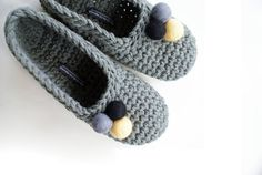 Grey Crochet Slippers With Felted Pom Pom @Alysha Tarr You have to make these for me =)